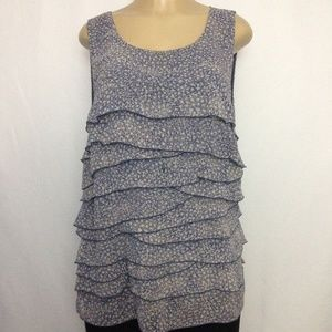 Ann Taylor Top L Blue Multi Color Tiers Sleeveless